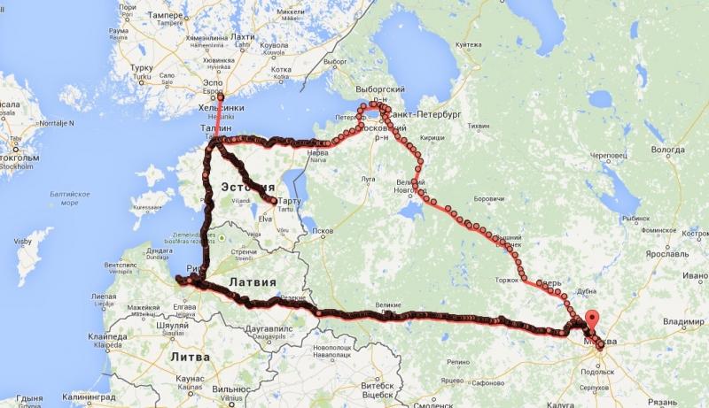 маршрут по прибалтике на машине карты