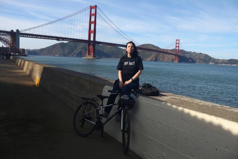"""Мост """"Золотые ворота"""" в Сан-Франциско на велосипеде"""
