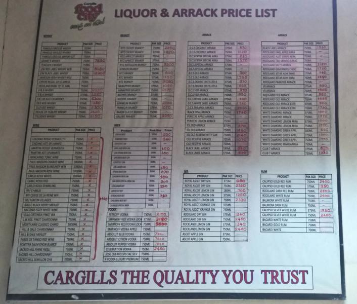 """Цены спиртное в Шри Ланке в """"Vine stores"""" статистика"""