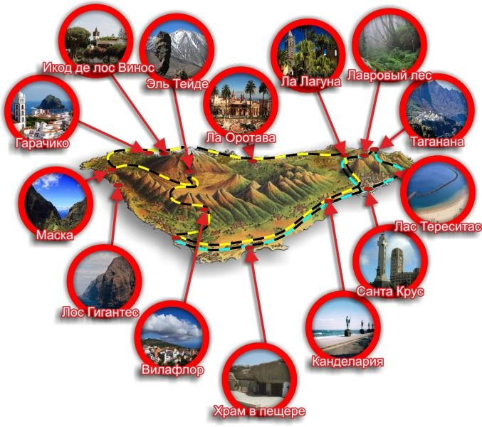 Карта тенерифе с достопримечательностями на русском языке