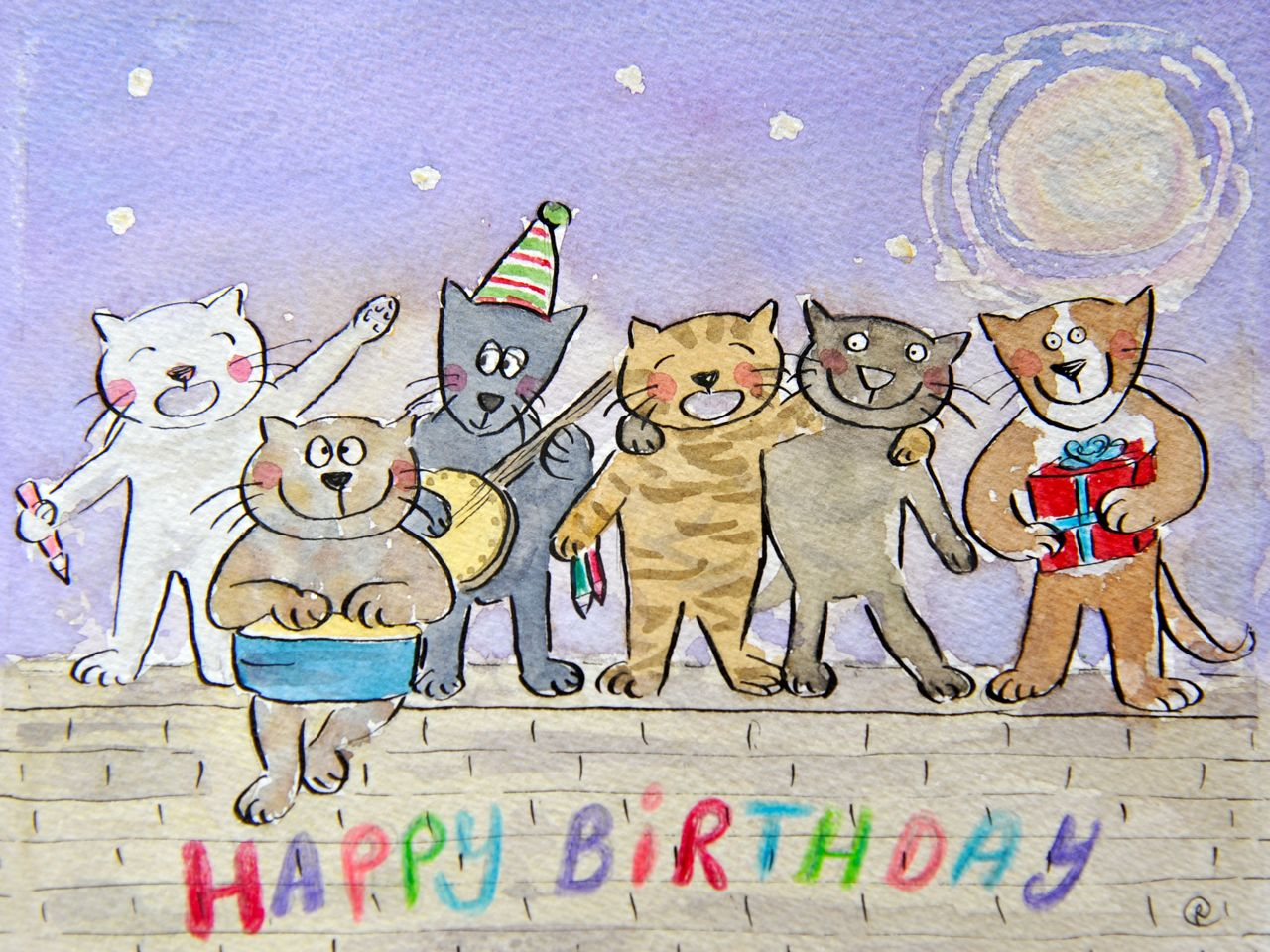 Картинки с днем рождения котики нарисованные