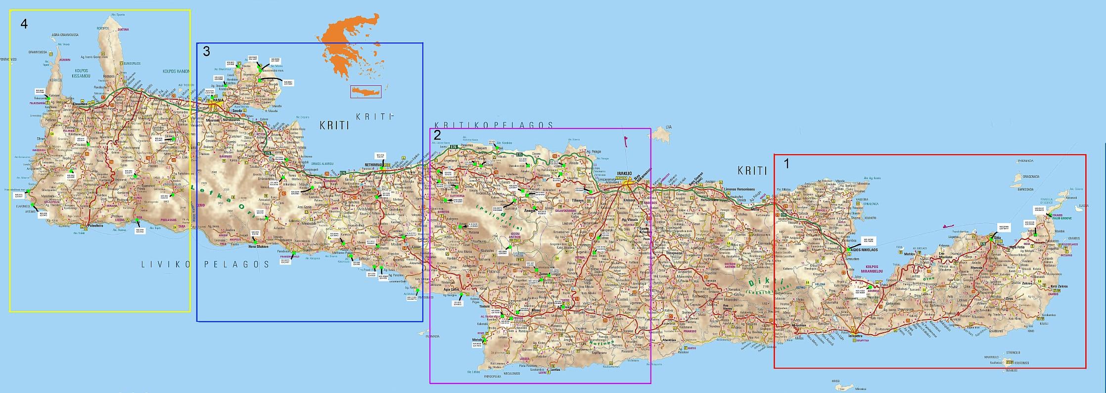 Карта пляжей крита с фото