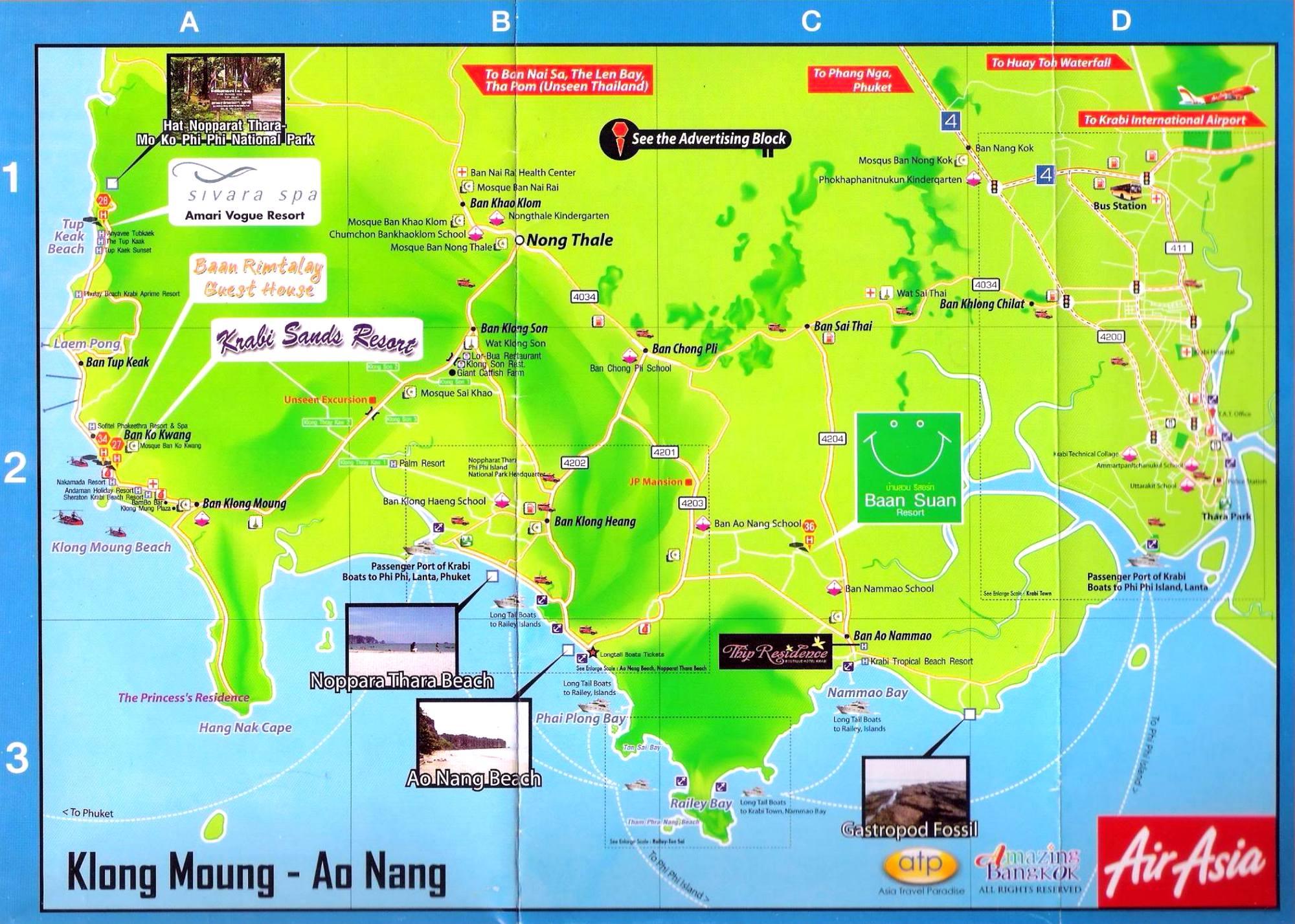 detailed map of krabi thailand - HD2000×1428
