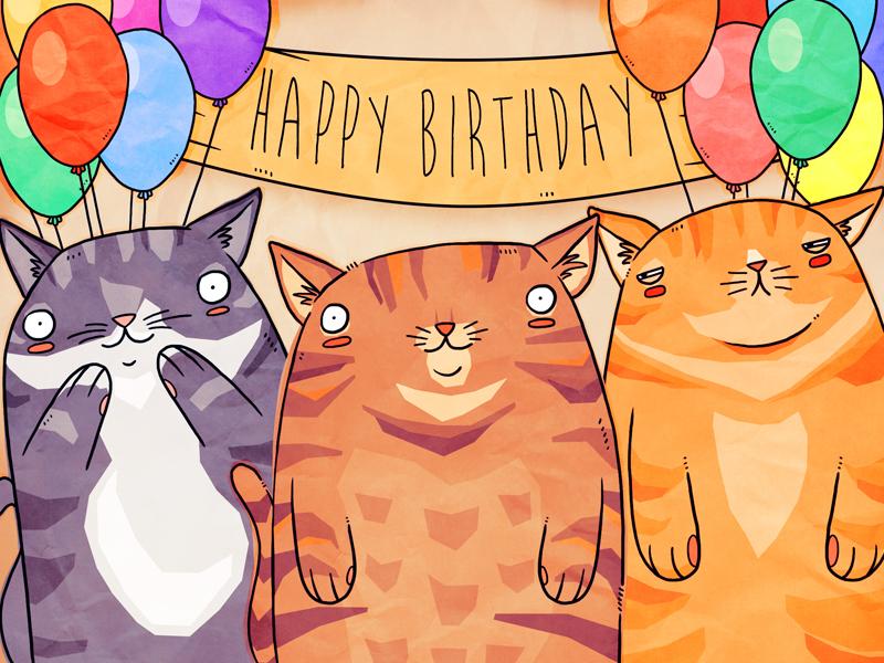 Телефон поздравление, картинки с днем рождения котики нарисованные
