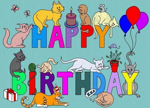 Открытки с кошками с днем рождения на английском языке