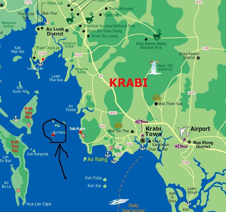 detailed map of krabi thailand - 720×675
