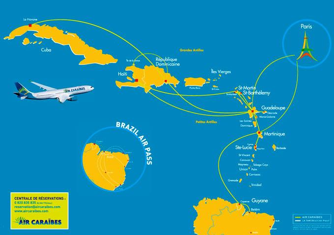 Куда летает Air Caraibes