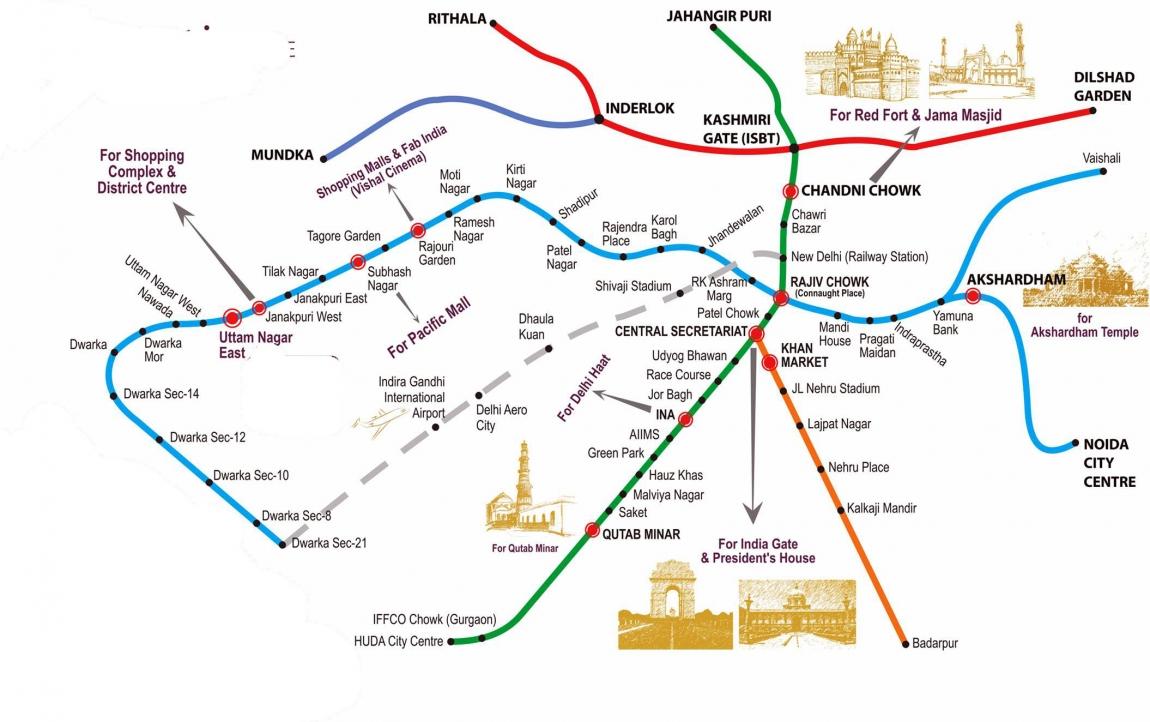 Схема метро дели