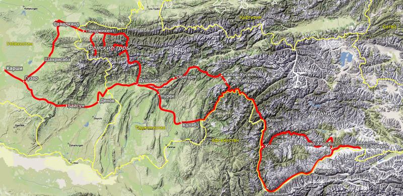 Схема маршрута по Таджикистану
