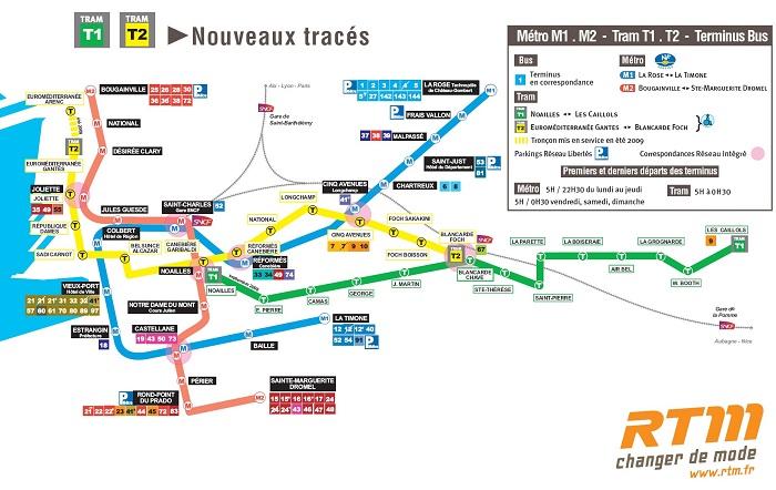 Схема метро Марсель.