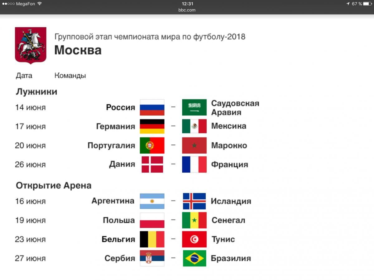Чемпионат мира по футболу 2018 игры в москве