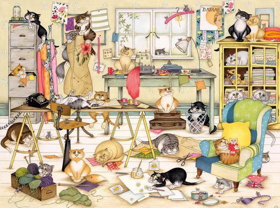 Кошка в комнате рисунок