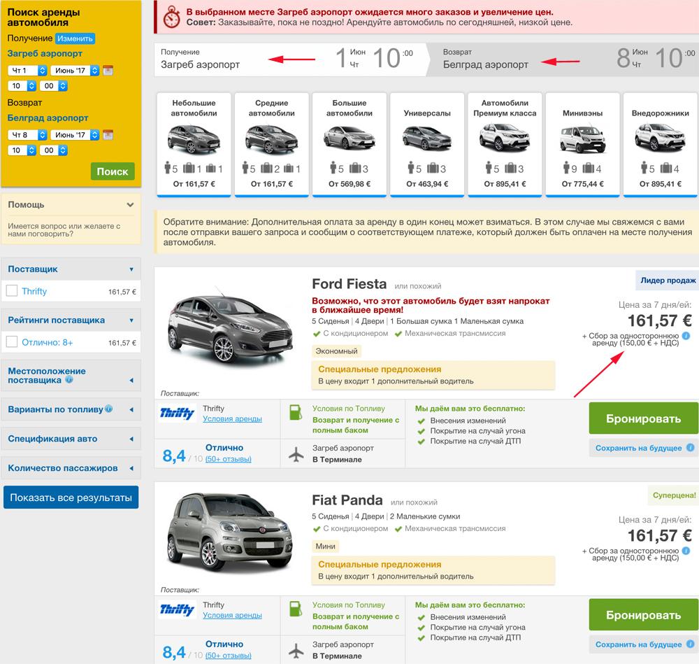 Аренда авто в Хорватии цены отзывы