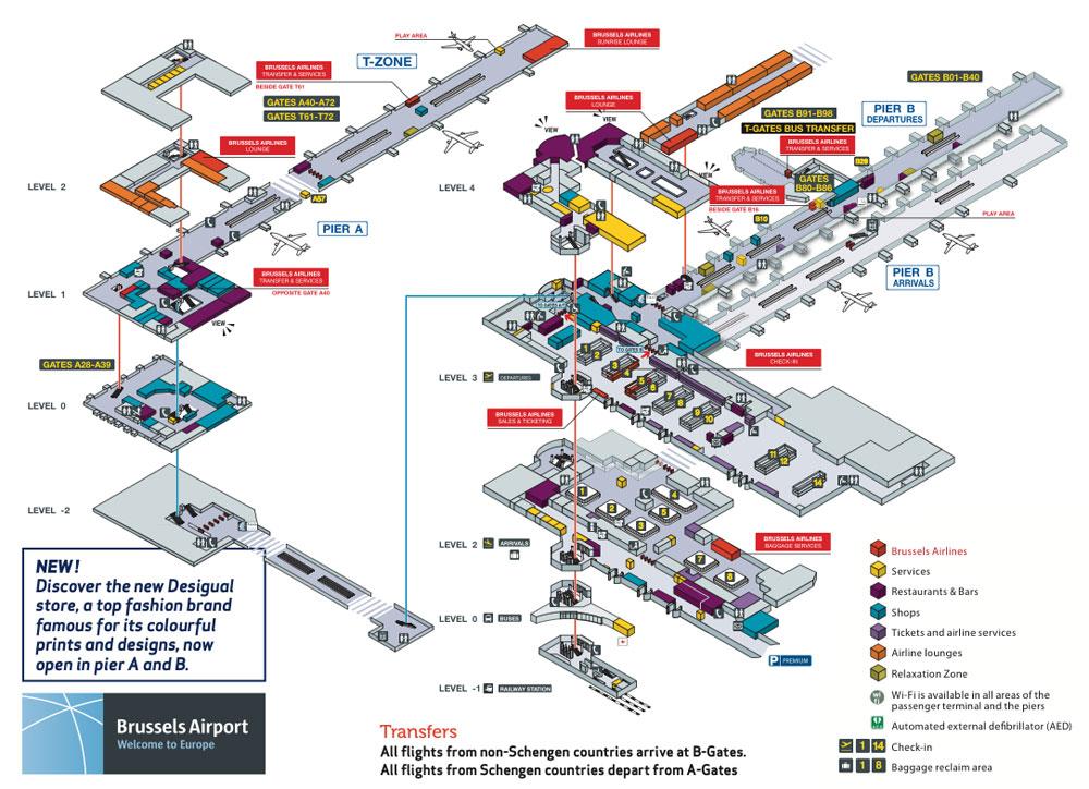 Страница аэропорта Брюсселя в