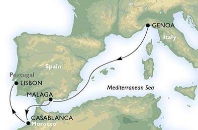 Карта круиза Генуя-Лиссабон