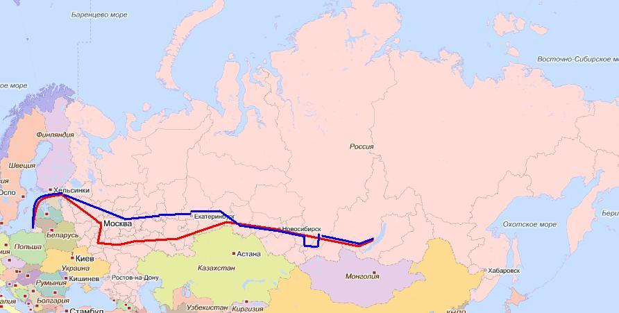 Маршрут Москва - Иркутск на карте автомобильных