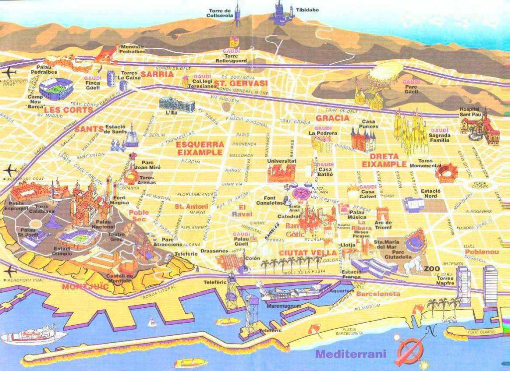 Барселона. Туристическая карта